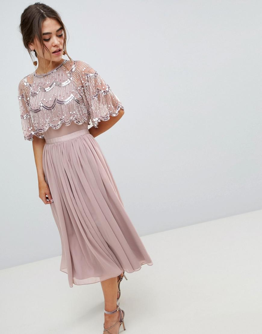 fa0f80e8cd93af Lyst - ASOS Scallop Hem Embellished Crop Top Midi Dress in Purple