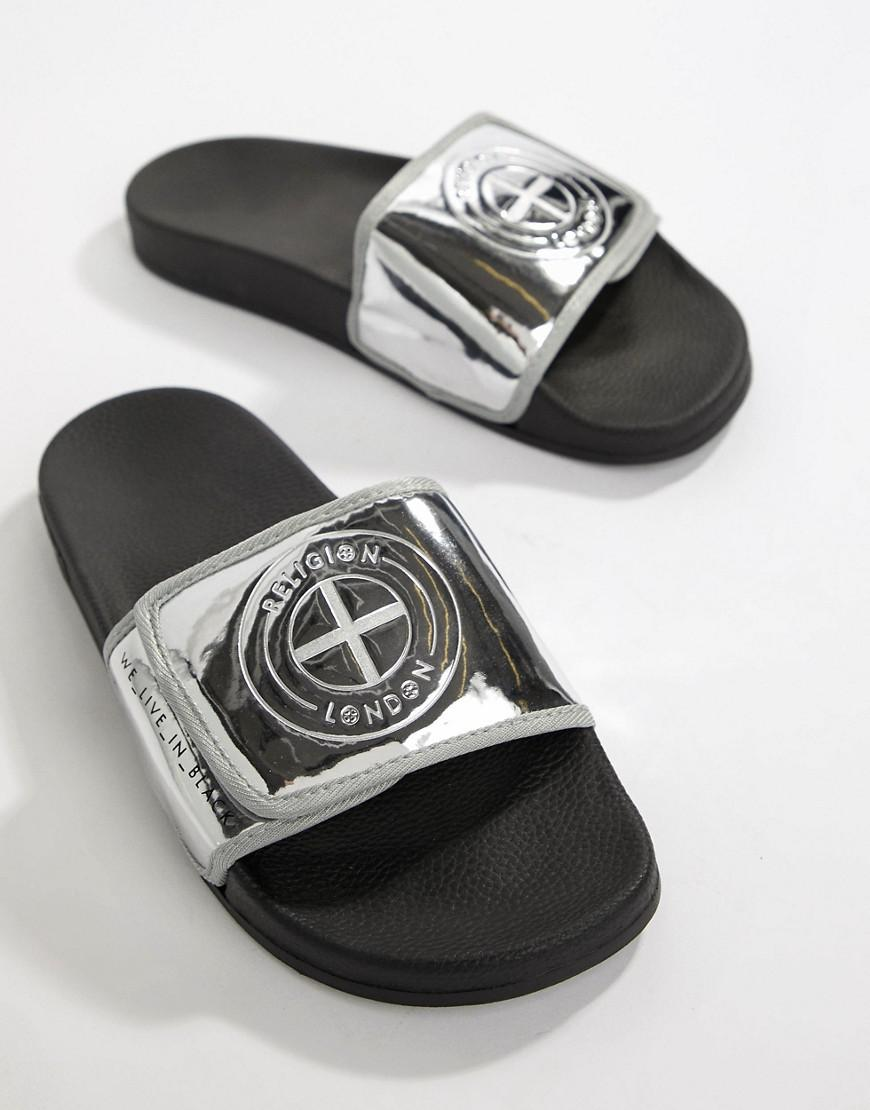 Religion Slydes x sliders with logo in silver XKPcNaQDa