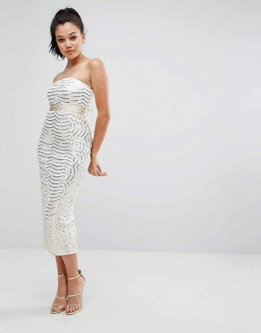 5fdaf798ca9 PrettyLittleThing Premium Lace Bandeau Sequin Midi Dress in White - Lyst