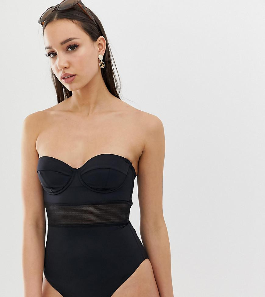 6d5b8d405f0aa ASOS. Women s Asos Design Tall Recycled Mesh Insert Underwired Cupped  Swimsuit In Black