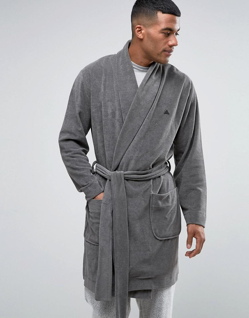 Asos Shawl Neck Towelling Robe With Logo in Gray for Men - Lyst ffd586d7a