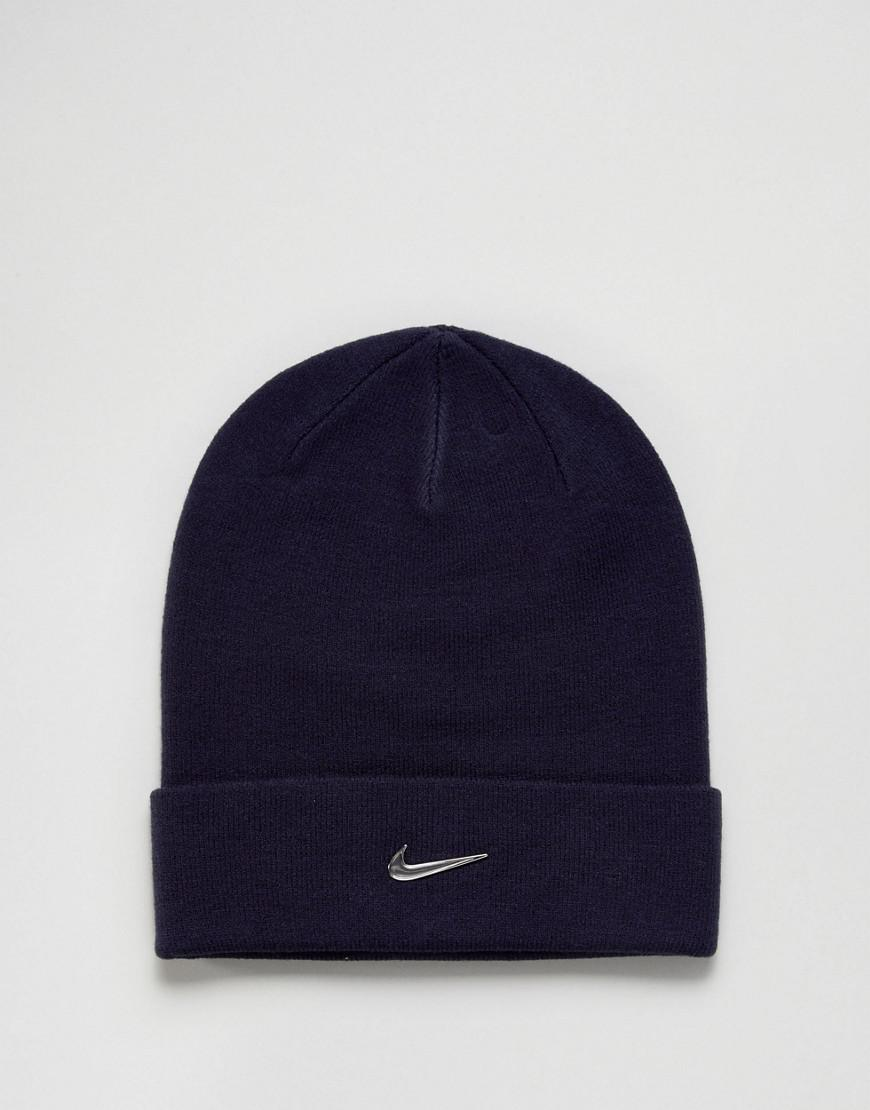 cheap for discount f9aec 0f955 Nike Metal Swoosh Beanie In Navy 803734-451 in Blue for Men - Lyst