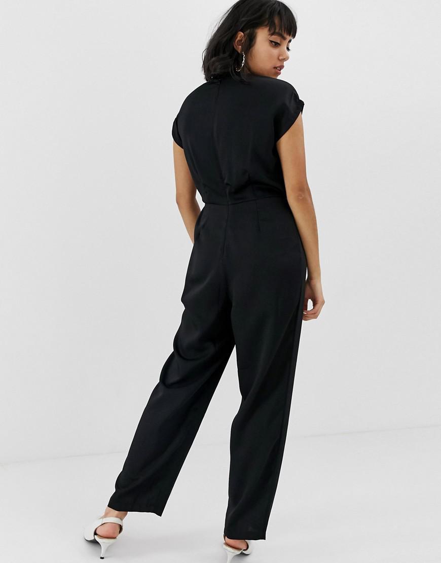 48244d02897 Lyst - Vero Moda Knot Front Jumpsuit in Black