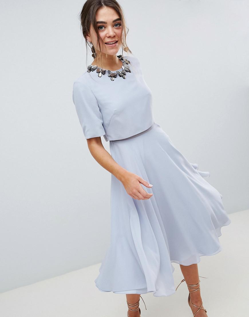 6cebde7c39 ASOS 3d Embellished Crop Top Midi Skater Dress in Blue - Lyst