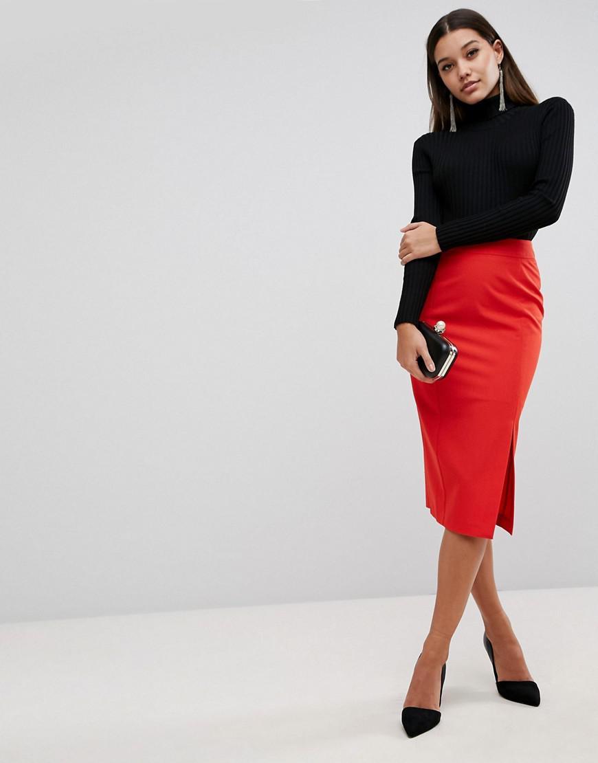 Asos Mix & Match High Waisted Thigh Split Pencil Skirt in ...