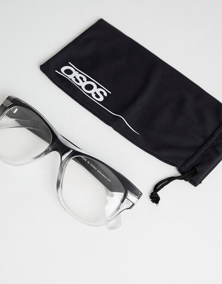 55123e745e ASOS Square Glasses In Grey Fade With Clear Lens in Gray for Men - Lyst
