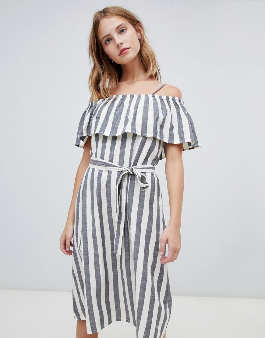 7c30488928 Ichi Stripe Bardot Dress - Lyst