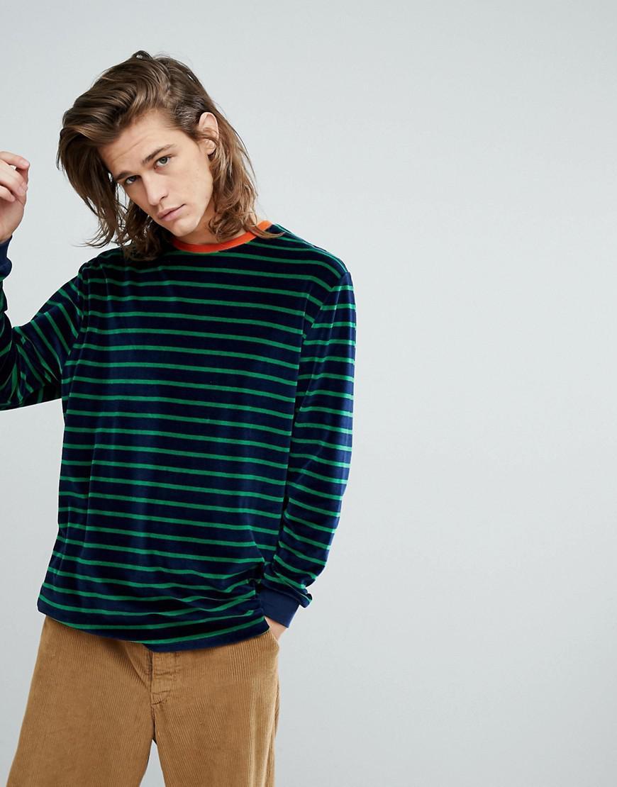 Lyst asos oversized long sleeve stripe t shirt in navy for Navy blue striped long sleeve shirt