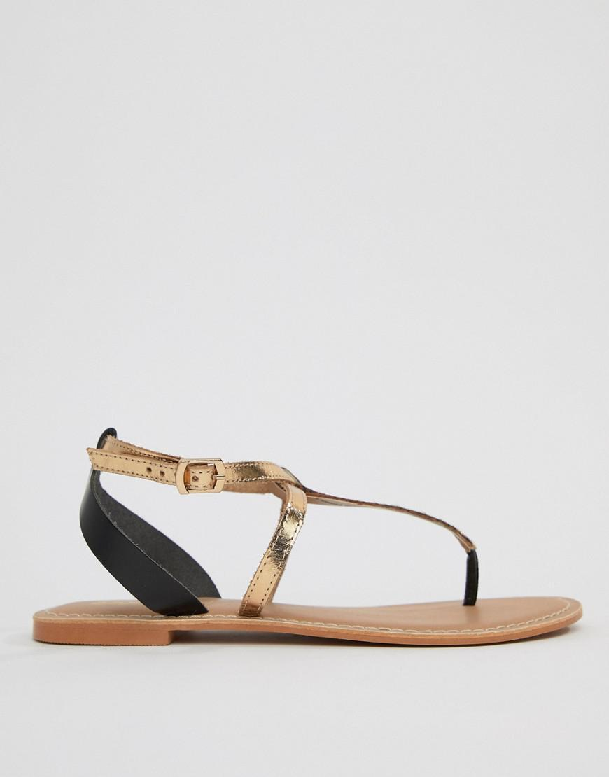 abbf1d31aadc Lyst - ASOS Forbes Leather Wide Fit Flat Sandals