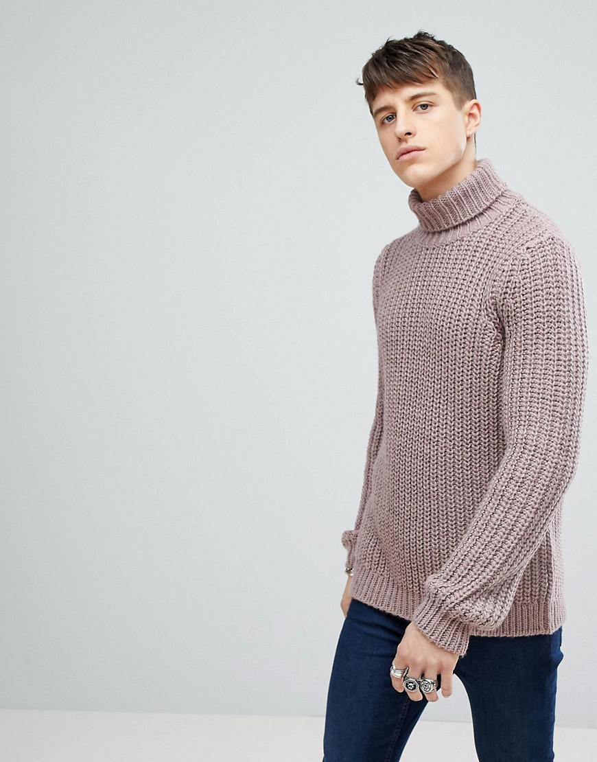 9f694711e Lyst - ASOS Heavyweight Fisherman Rib Roll Neck Jumper In Faded Pink ...