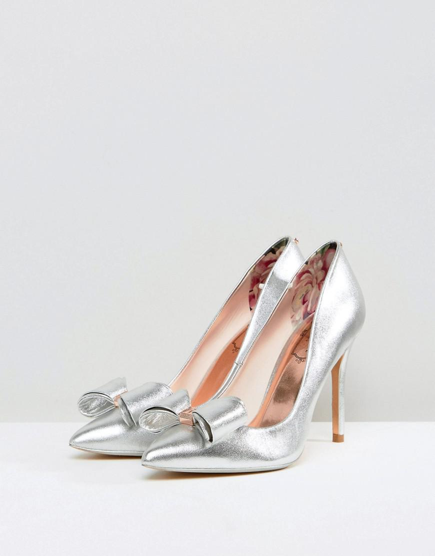 49ae20cdd66 Lyst - Ted Baker Azeline Silver Leather Bow Court Shoes in Metallic