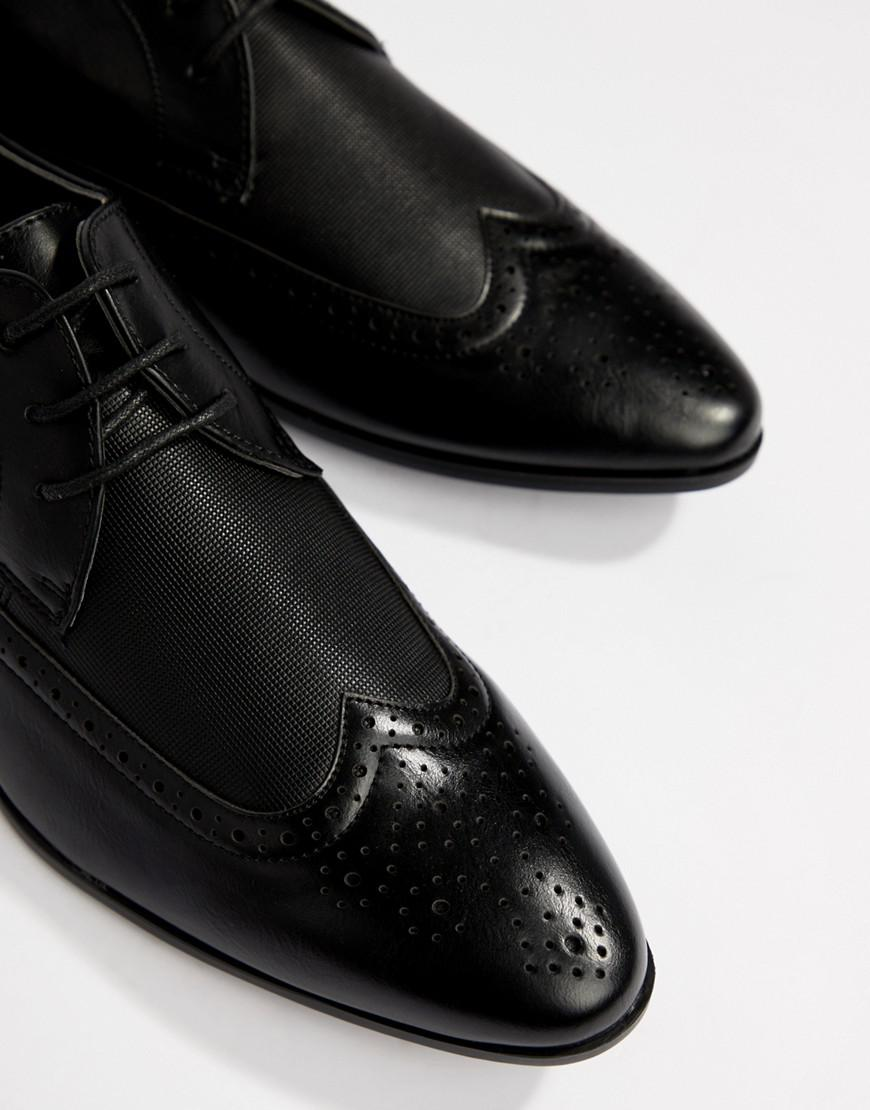 New Look - Faux Leather Brogue With Embossed Detail In Black for Men -  Lyst. View fullscreen