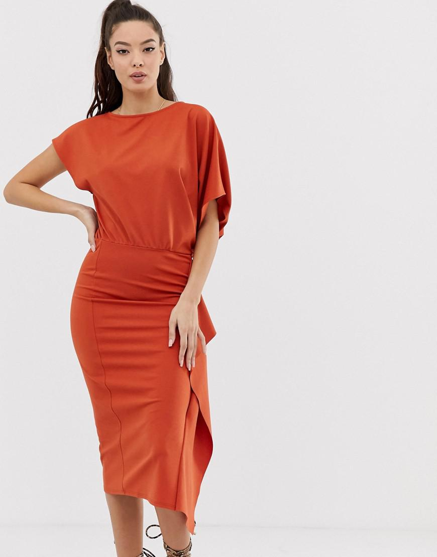 674f1063dbfeb Lyst - Asos Cape Side Midi Pencil Dress in Orange