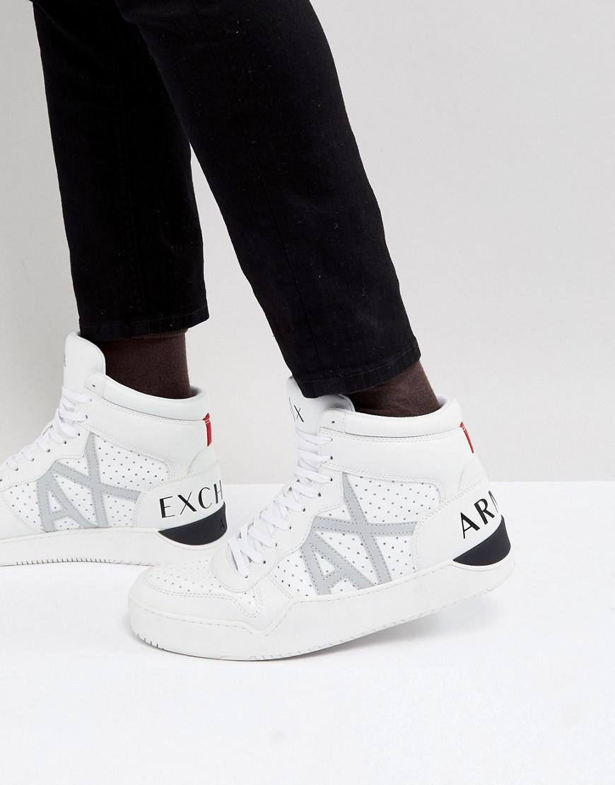 4914ac3da53 White Perforated Armani Sneakers In Ax Hi Exchange Logo Lyst Top Z7w1gzxqg
