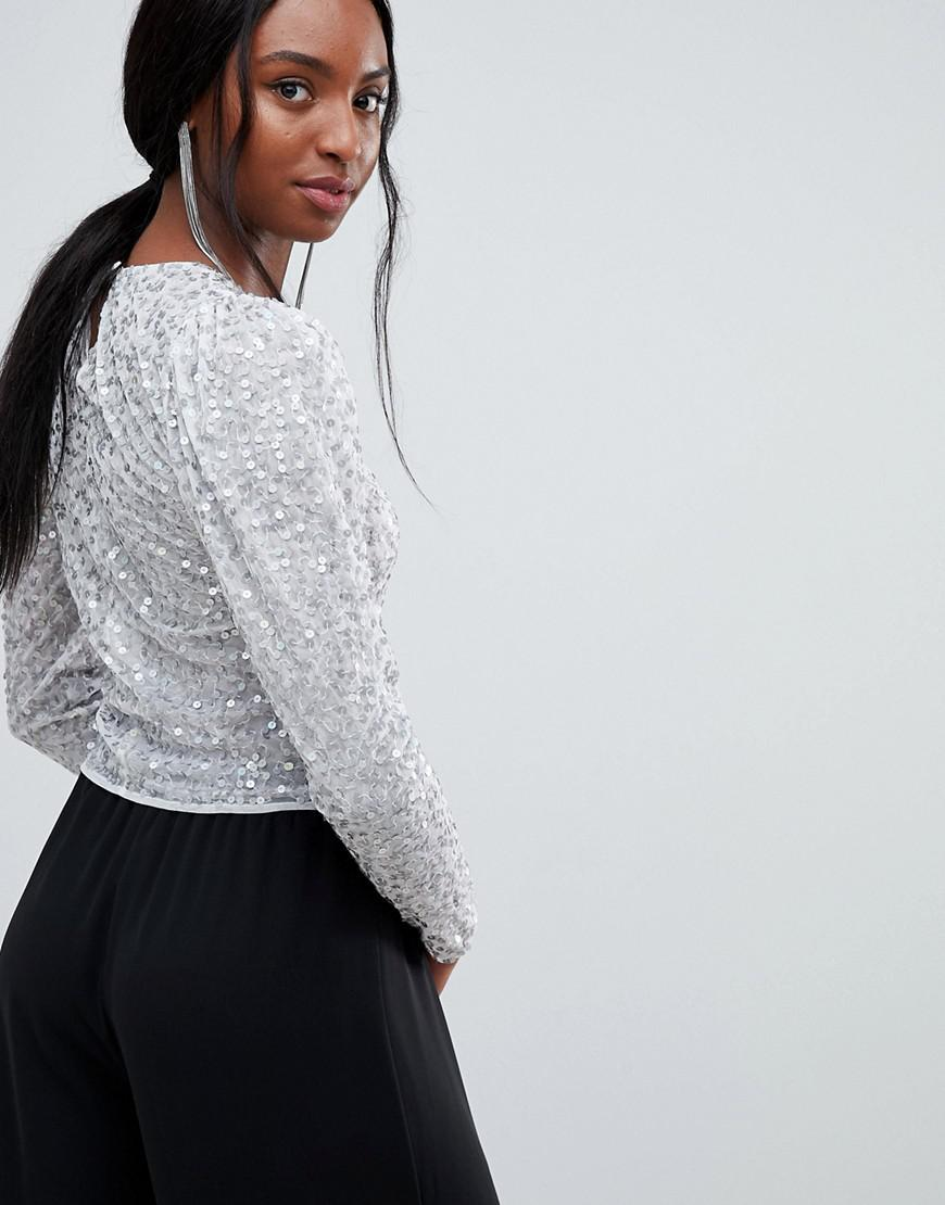 81d67eea45062b Lyst - Asos Asos Design Tall Long Sleeve Top With Sequin Embellishment in  White