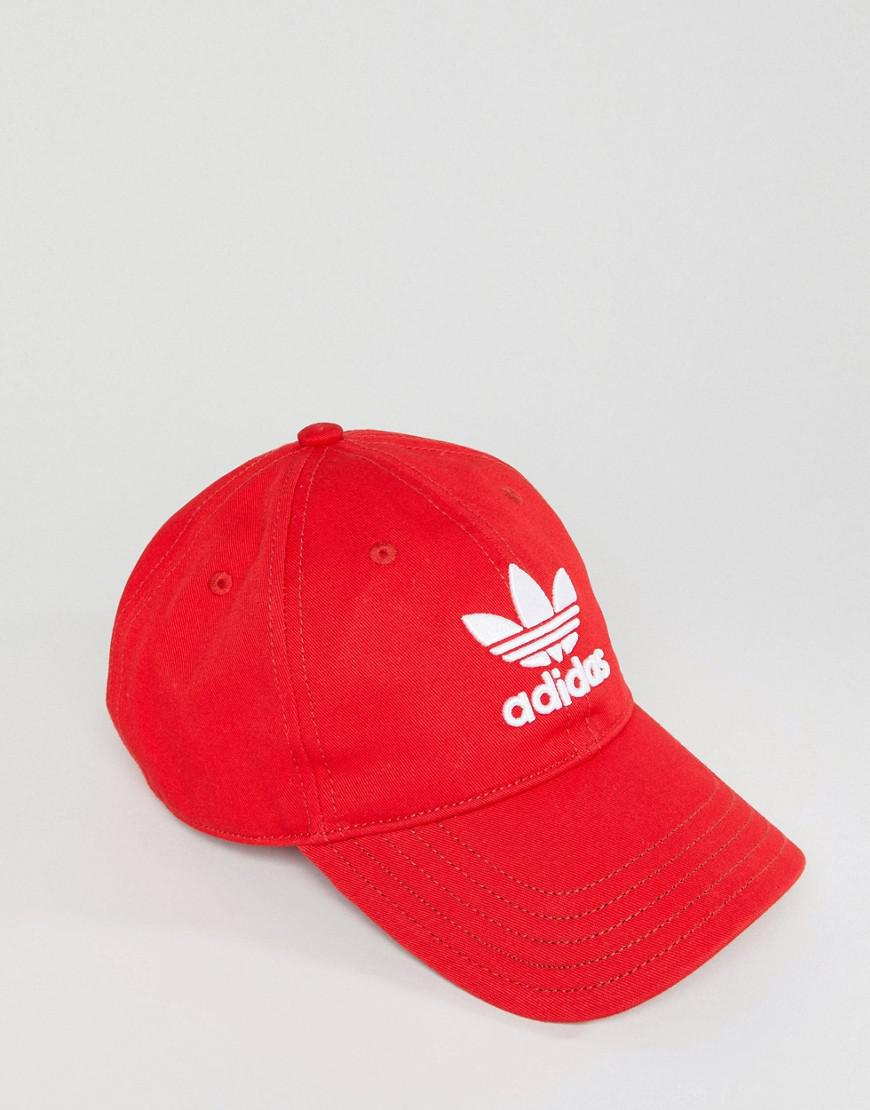 adidas Originals Suede Relaxed Strapback Hat in Red - Lyst b36eba77397
