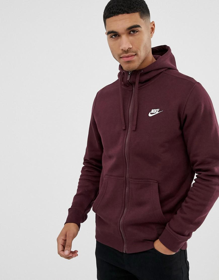 b1e3828d55bb8e Nike - Club Zip Through Hoodie In Red 804389-653 for Men - Lyst. View  fullscreen