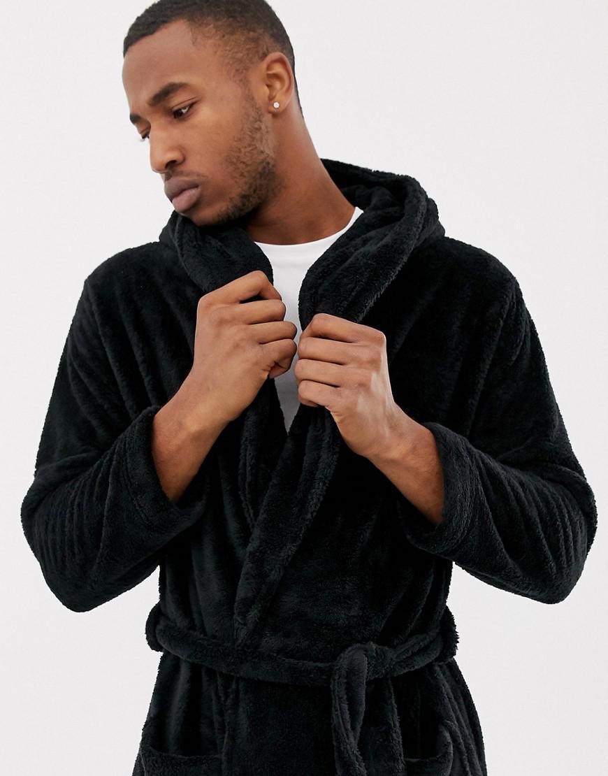 Asos Fluffy Hooded Dressing Gown In Black in Black for Men - Lyst c19fc646e