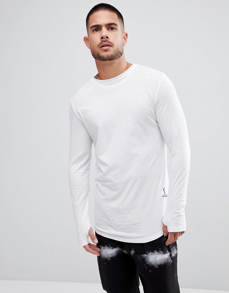 Long Sleeve T-Shirt With Curved Hem and Double Neck - Black Religion Cheap Footlocker Pictures Clearance Outlet Outlet Low Shipping Online Cheapest 1yAsRMc4f
