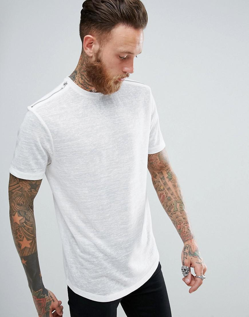 bbb74c00 Lyst - ASOS Longline T-shirt In Linen Look With Zips And Curved Hem ...