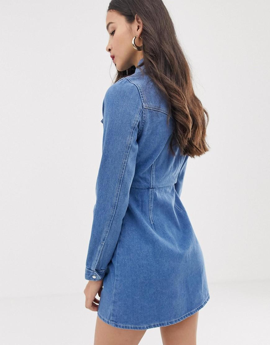 37dfe9e36 ASOS Structured Denim Shirt Dress In Bright Blue in Blue - Lyst