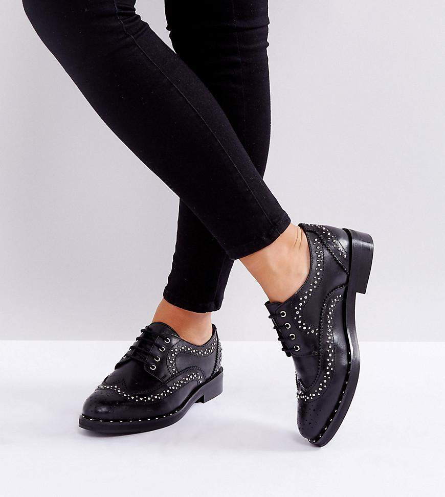 MONTEREY Wide Fit Leather Studded Flat Shoes - Black Asos 48oRFBgLjp