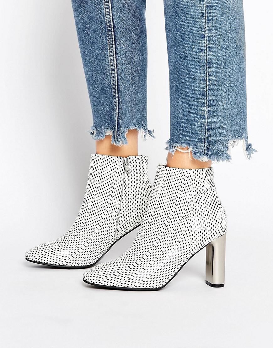 Women Sol Sana Alicia Polka Dot Snake Print Leather Ankle Boots Polka Dot Snake Cheap Sale