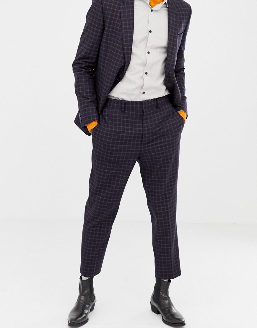 Lyst Asos Tapered Suit Trousers In Navy And Orange Grid Check In