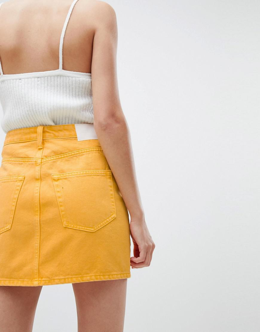 Denim Wend Mini Skirt Yellow In Lyst Weekday DH9EI2