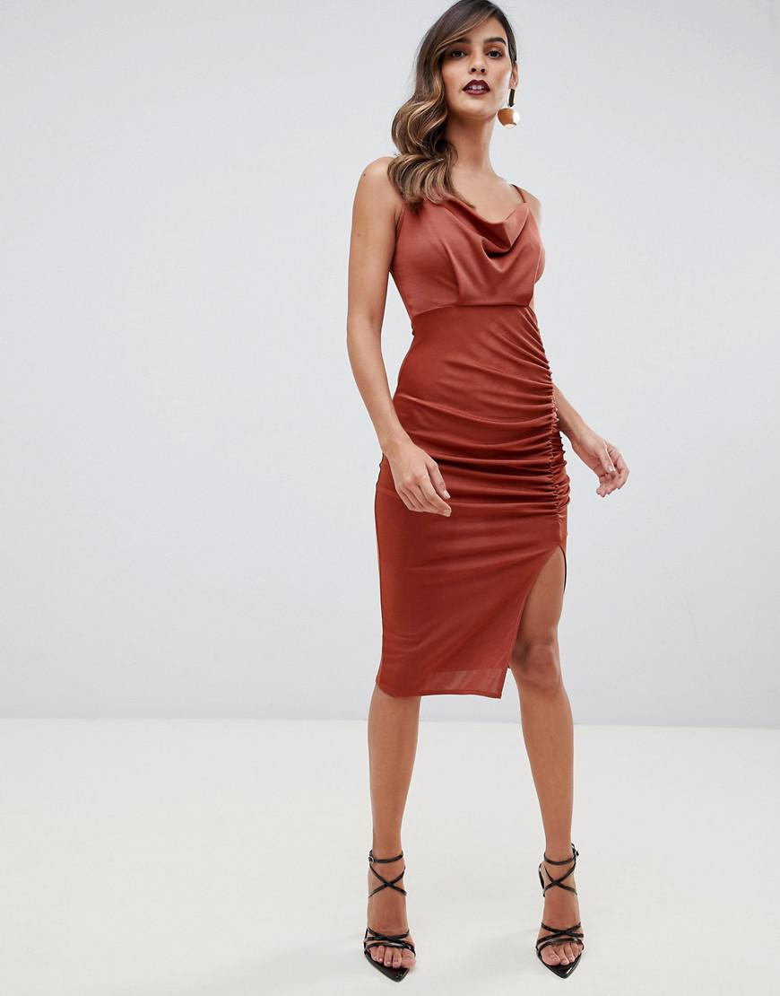 883adfbfee465 ASOS Slinky Ruched Cowl Midi Dress in Brown - Lyst