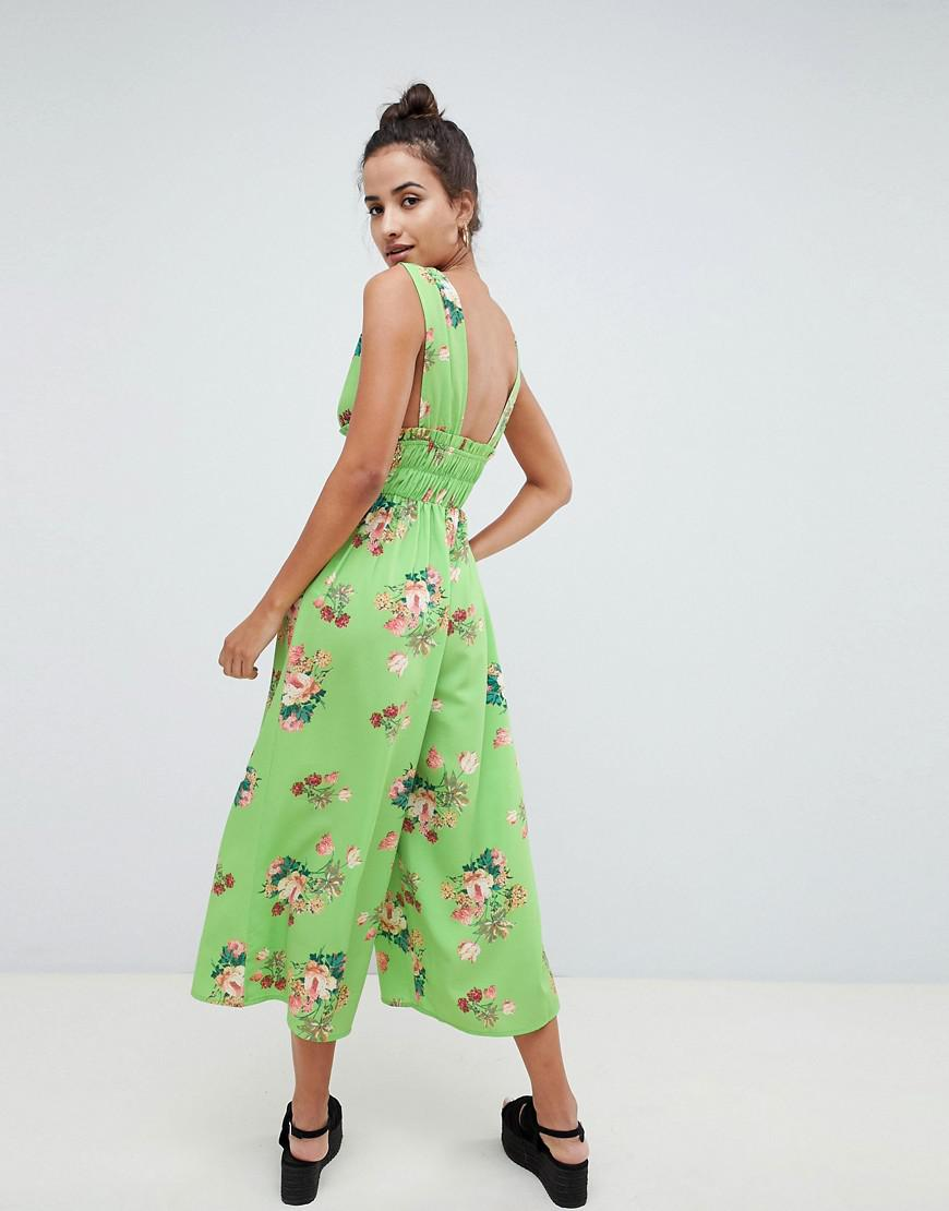 98f50dcc3d36 Lyst - ASOS Jumpsuit With Ruched Waist In Green Floral Print in Green