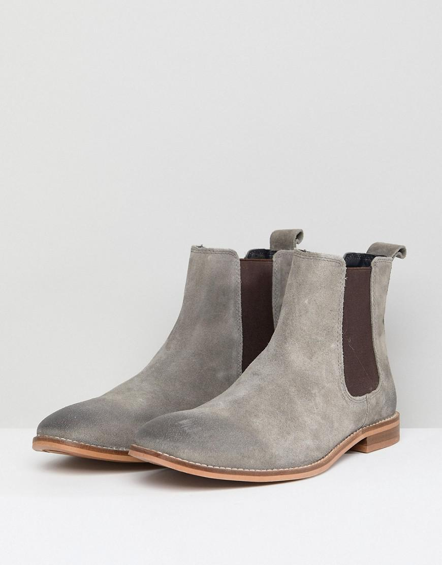 dc945930d5b ASOS Asos Wide Fit Chelsea Boots In Gray Suede in Gray for Men - Lyst