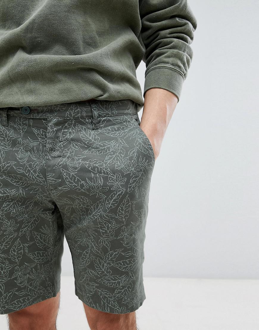 Shorts In Khaki With Leaf Print - Green Ted Baker UKA4n