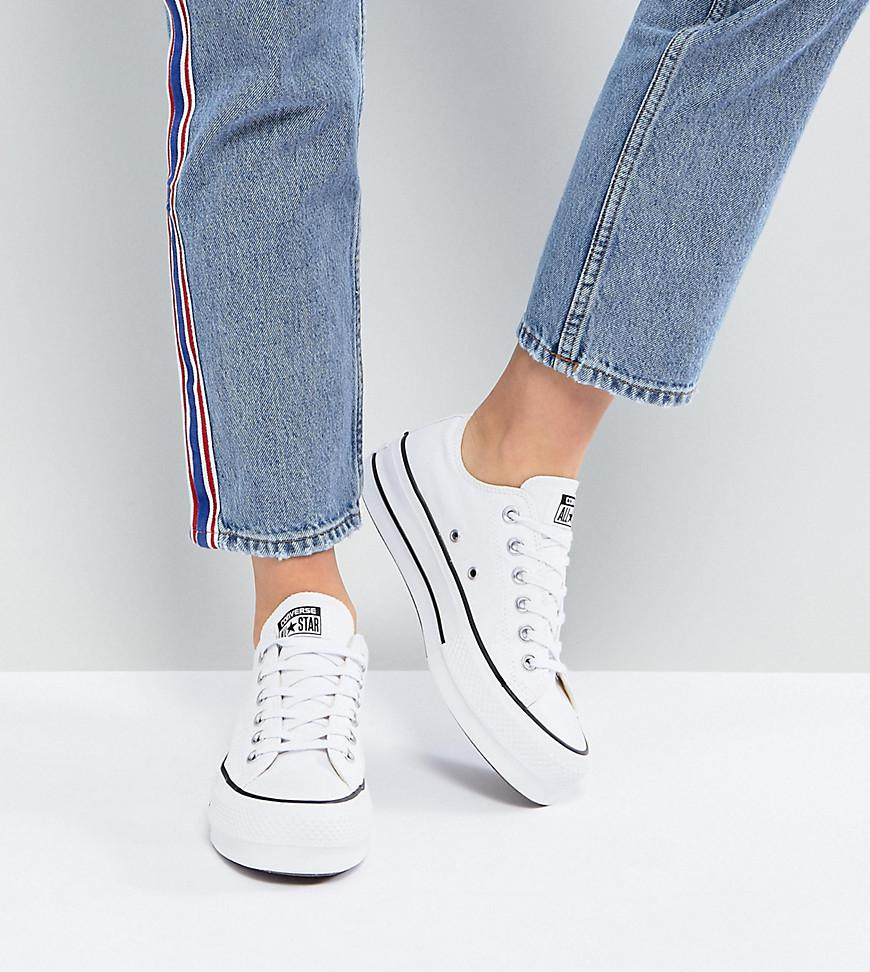 Converse Chuck Taylor All Star Platform Ox Trainers In White in ... ae4fbc460