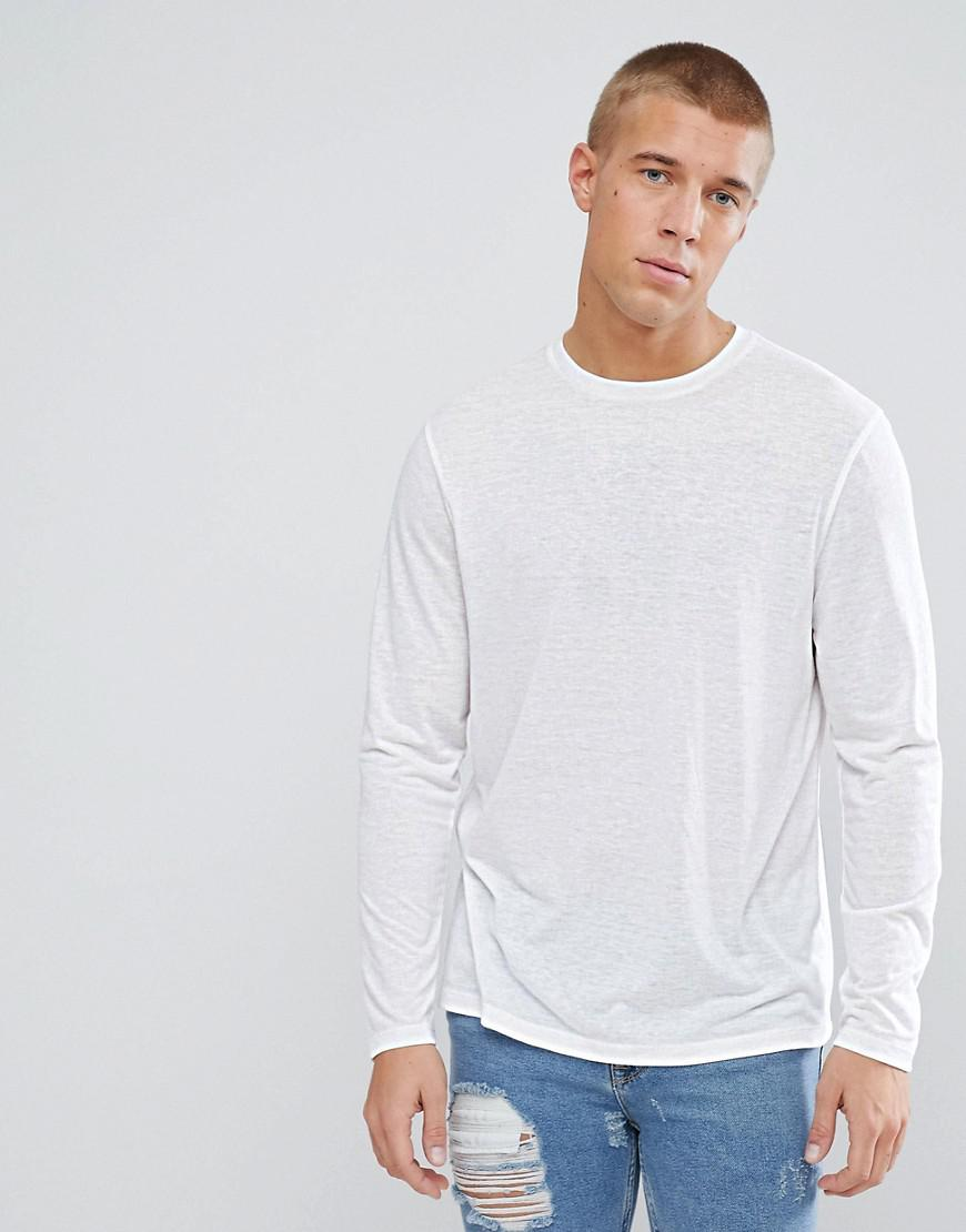 ASOS. Men's Long Sleeve T-shirt In Linen Mix ...