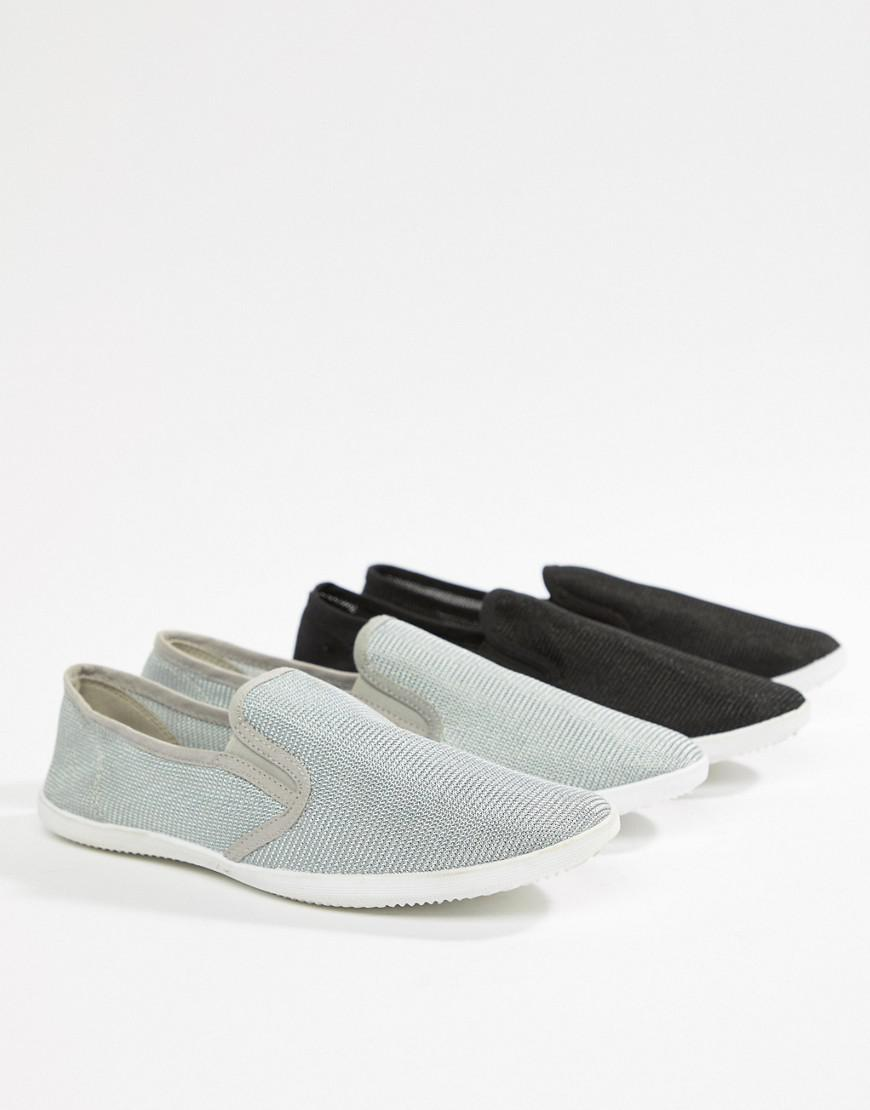 truffle collection 2 pack slip on plimsolls for men lyst