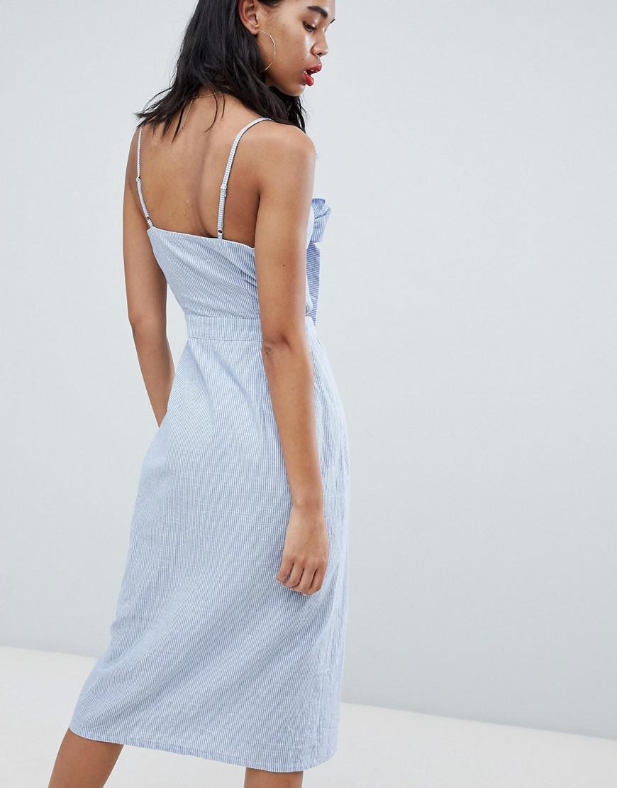 ec77999e Missguided Tie Front Button Down Strappy Midi Dress in Blue - Lyst