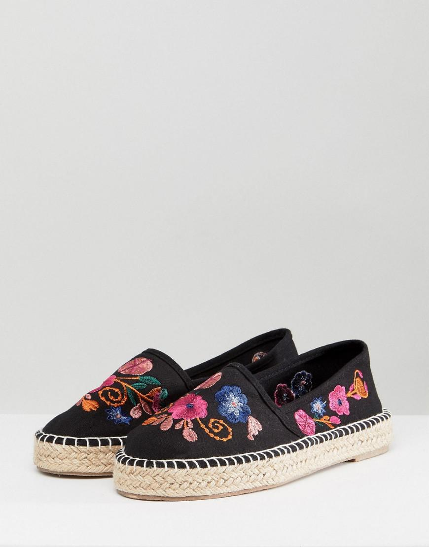 50edef3cd2f5 South Beach Black Espadrilles With Floral Embroidery in Black - Lyst