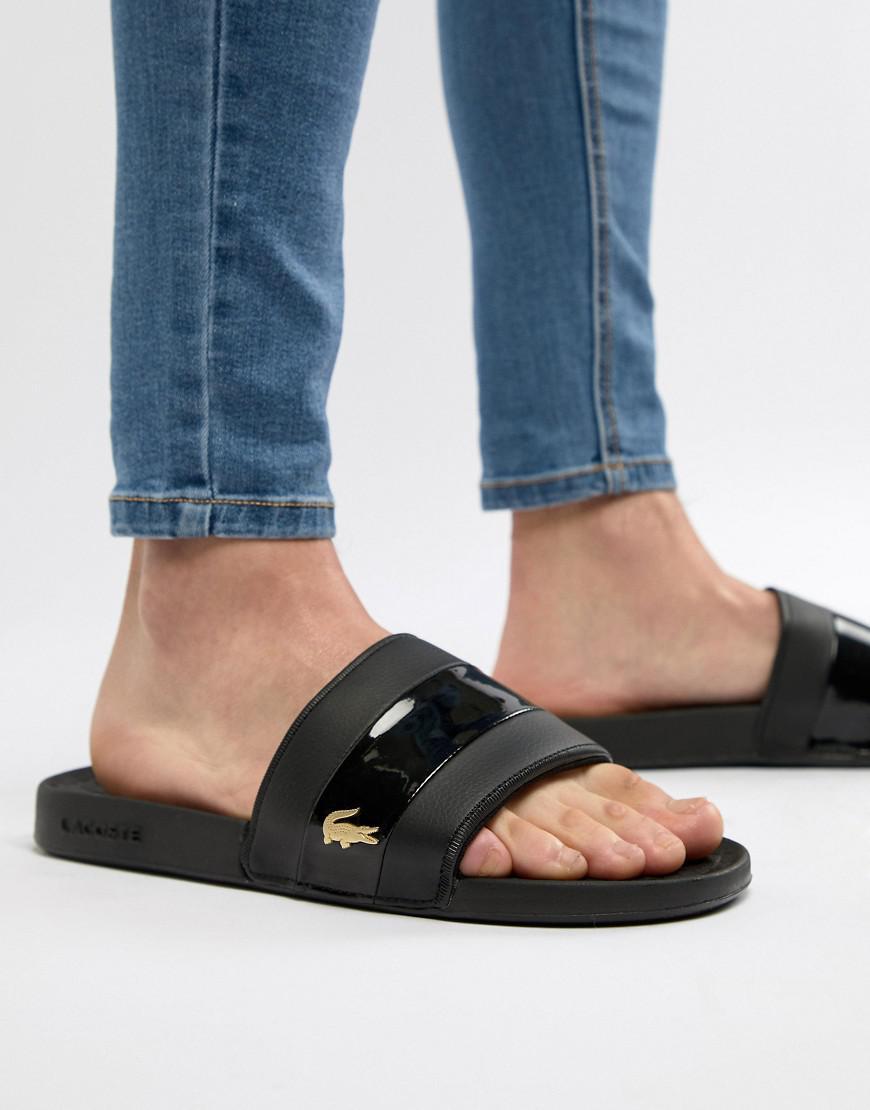 2996360a848 Lacoste Fraisier Gold Croc Sliders In Black in Black for Men - Lyst