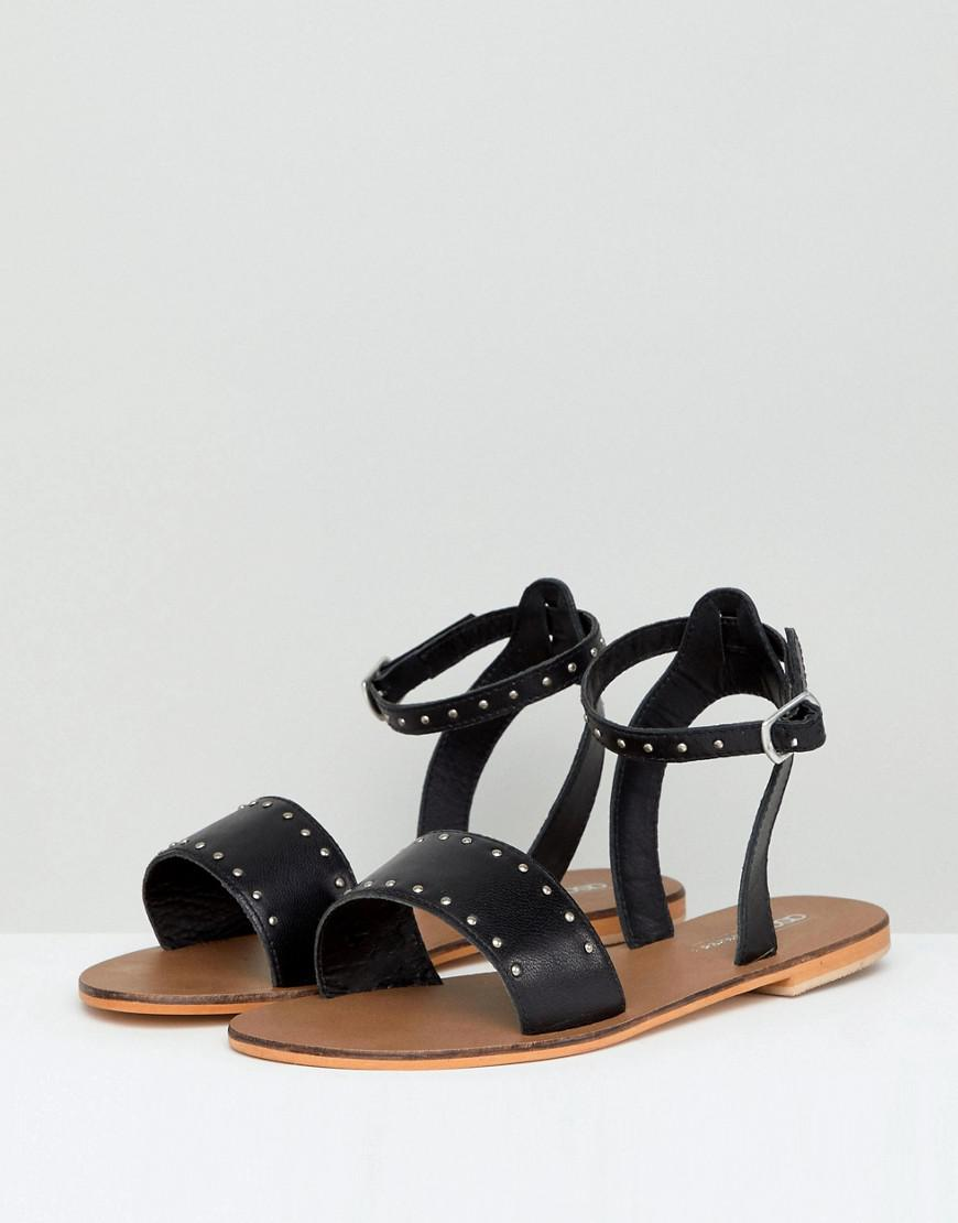 985f5930dcbd9 Lyst - ASOS Freja Leather Wide Fit Studded Flat Sandals in Black