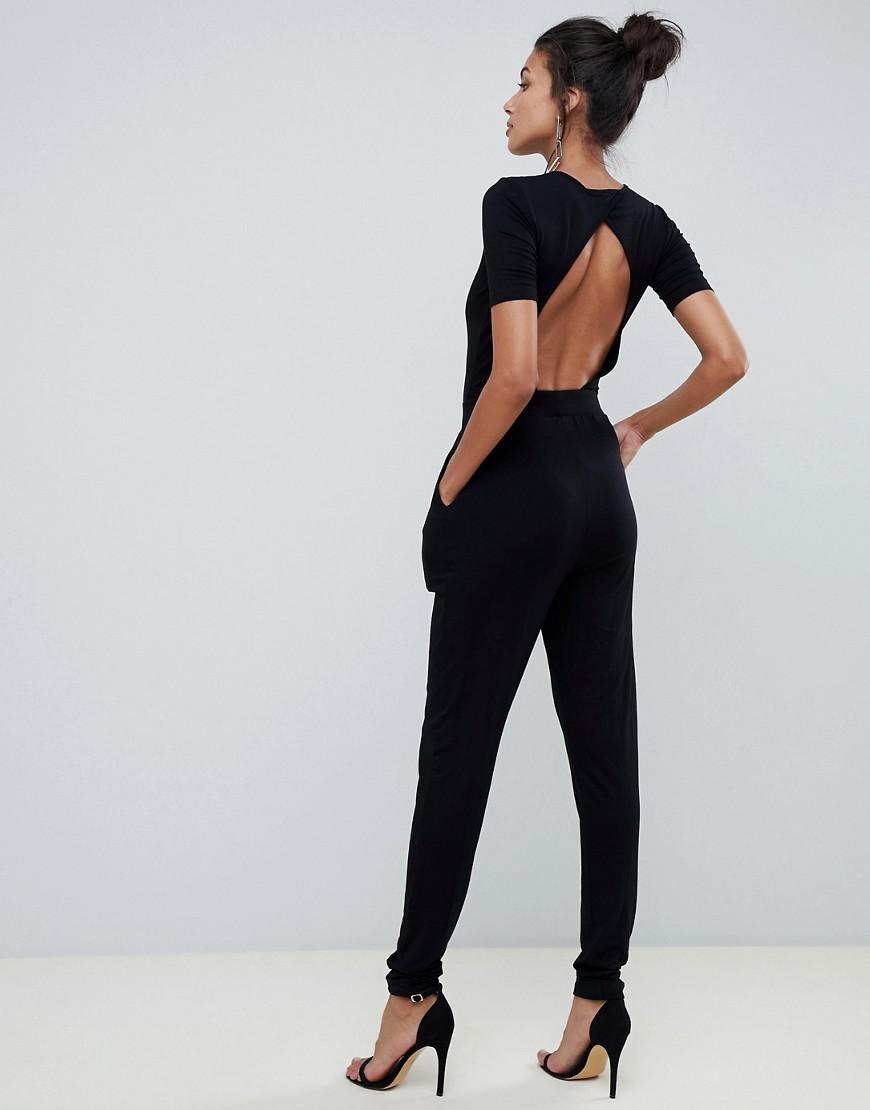 b3cab8f2c78 ASOS Asos Design Tall Wrap Front Jersey Jumpsuit With Short Sleeve in Black  - Lyst