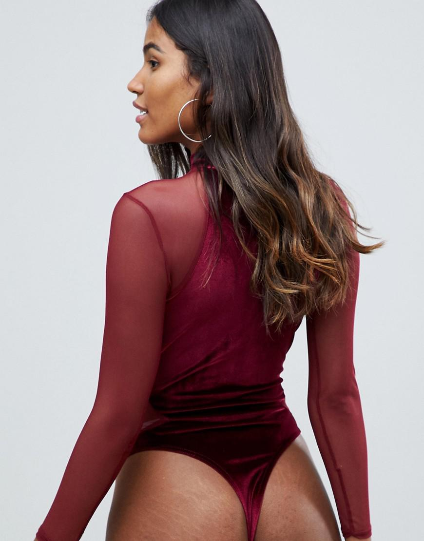 ed32b41070 Missguided Plunge Cut Out Velvet And Mesh Body In Burgundy in Red - Lyst