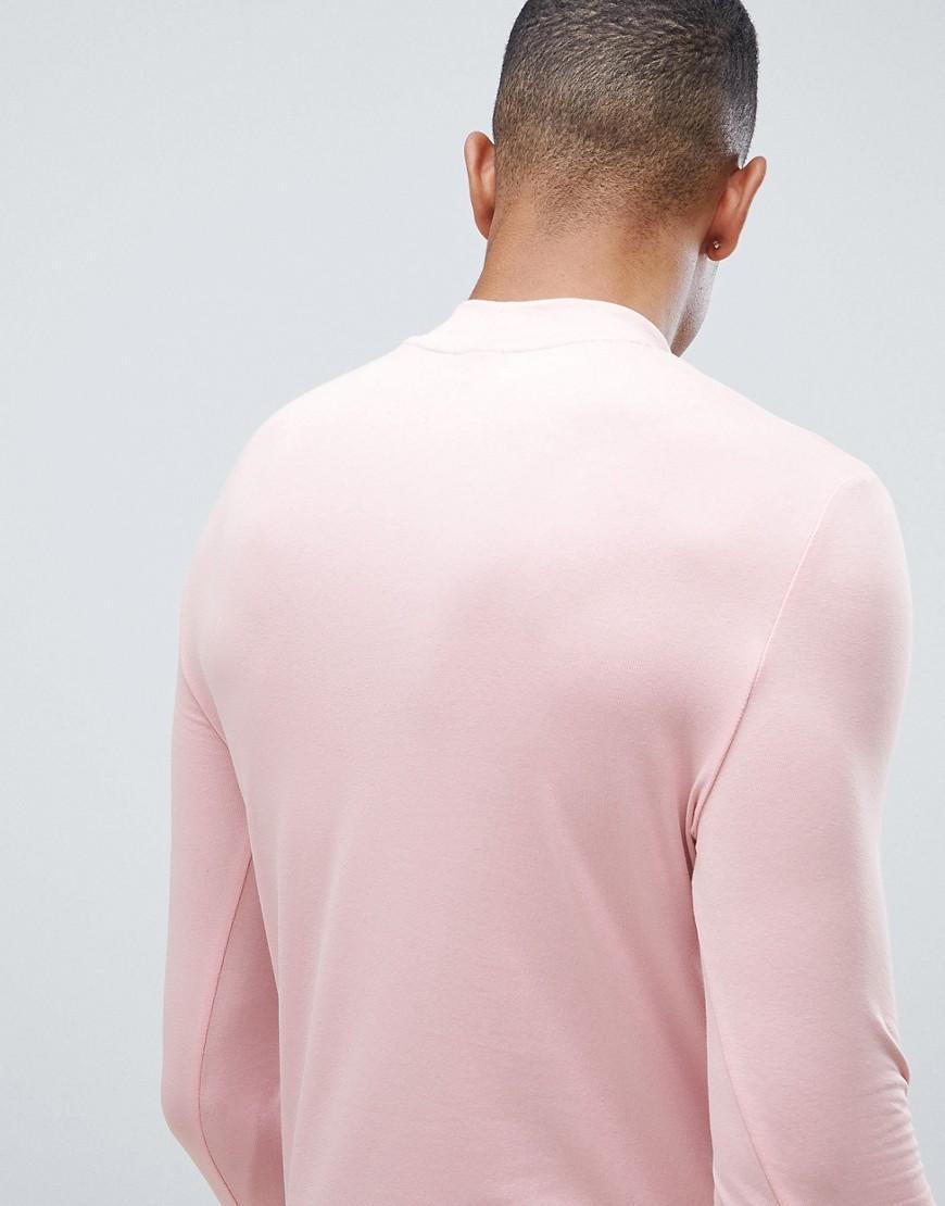 dbd3db7dd3bd3 Lyst - T-shirt stretch moulant manches longues col roul ASOS pour homme en coloris  Rose