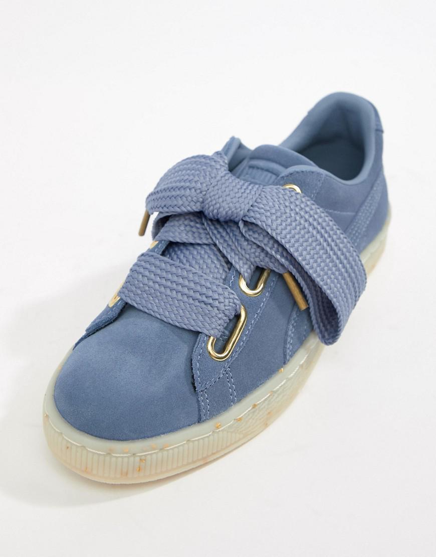 4e3d734f6ad Puma Suede Basket Heart Sneakers In Blue in Blue - Lyst