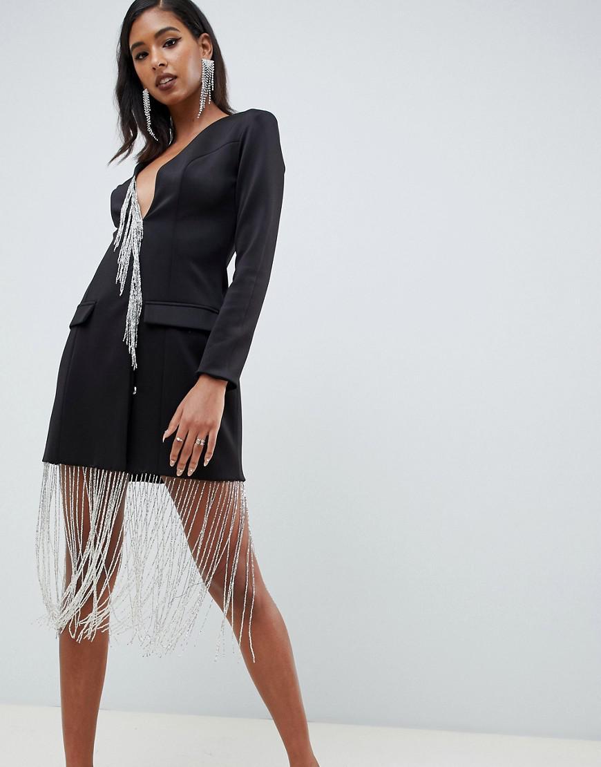 6f38f661f691 ASOS Tux Mini Shift Dress With Rhinestone Fringe in Black - Lyst