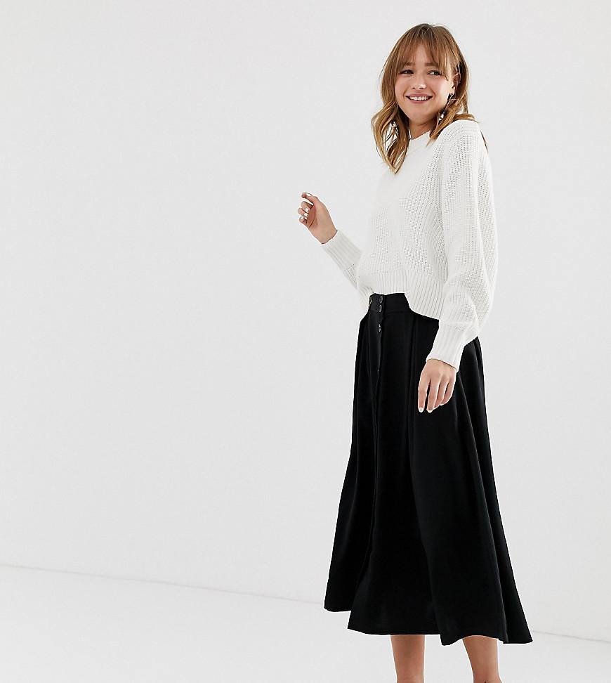 eee66fb887 Monki Buttoned Midi Skirt In Black in Black - Lyst
