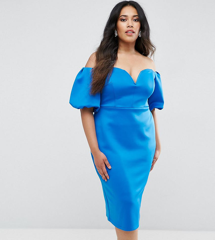 ASOS Scuba Puff Sleeve Bardot Midi Dress in Blue - Lyst 40d632c5c