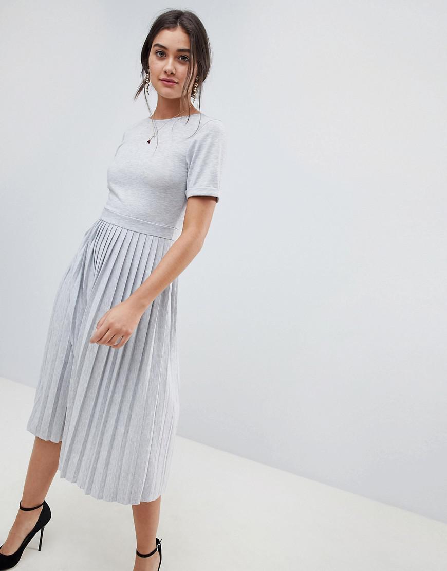 05a4ab0f0f568 ASOS Pleated Skirt Midi Dress in Gray - Lyst