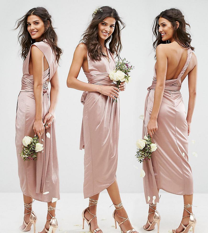 f2f0c0bff59 Lyst - TFNC London Wrap Pencil Multiway Midi Bridesmaid Dress in Brown