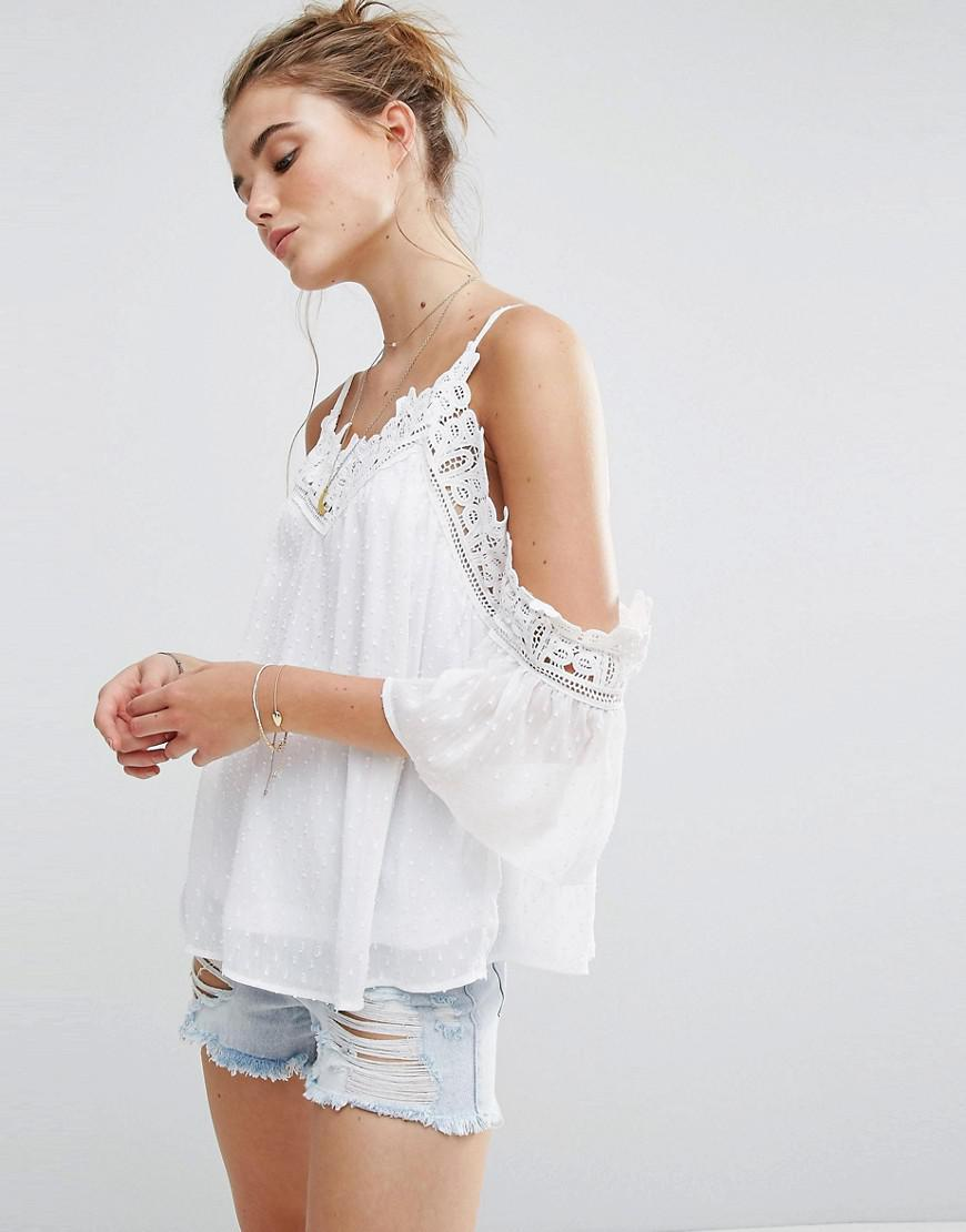 289bc5ae0005a6 Lyst - New Look Crochet Insert Cold Shoulder Cami Top in White